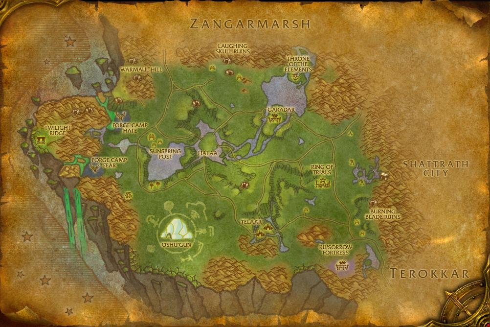 wow nagrand bonus objectives map