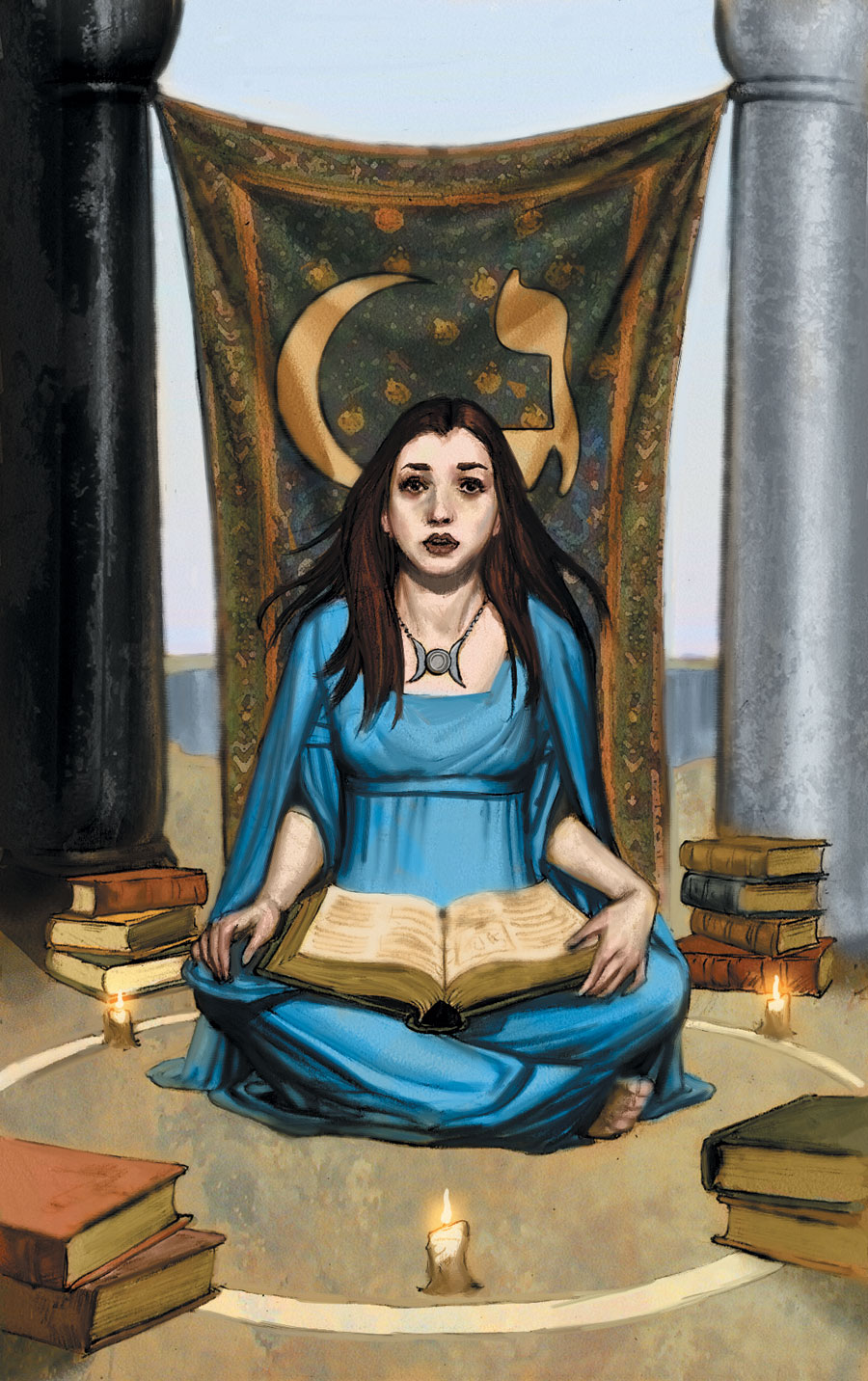 High Priestess Full Colorful Deck Major Stock Illustration: TAROT-High-Priestess.jpg
