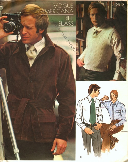 1970s Bill Blass men's jacket, sweater, shirt and necktie pattern - Vogue 2917