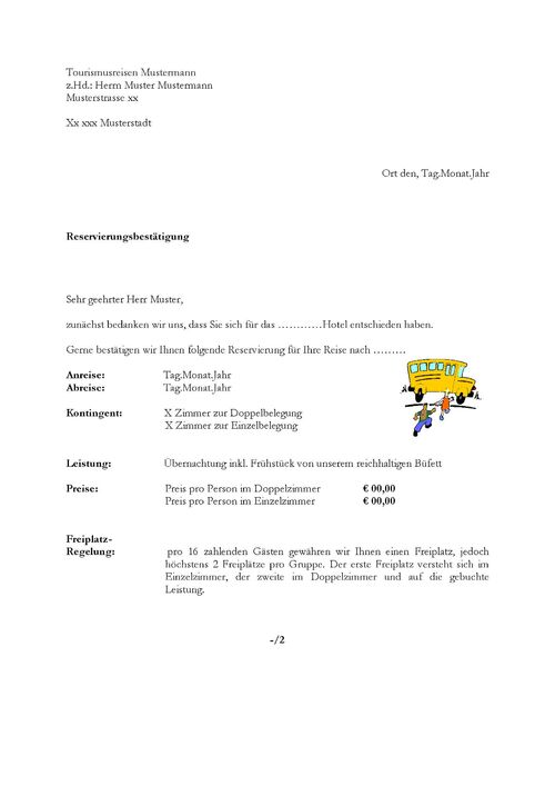 Musterbriefe Rechnungen : Bestätigung gruppe hotel lexikon wikia