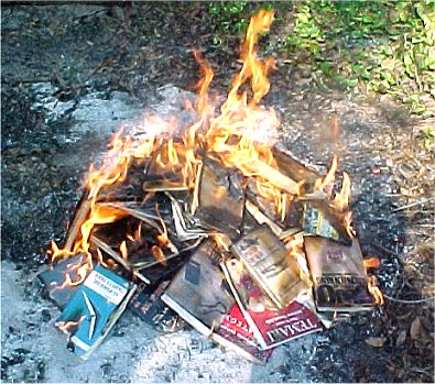 Book Burning - Wikiality, the Truthiness Encyclopedia