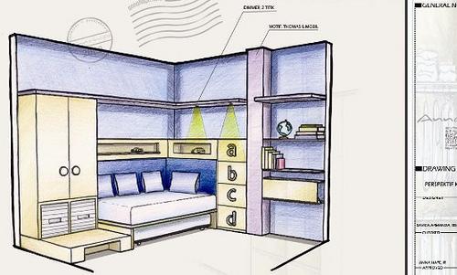 sketsa desain interior kamar