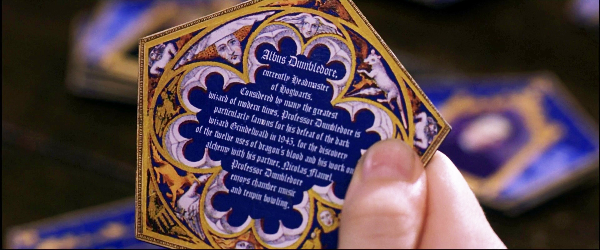 Biography of albus dumbledore on the back of his chocolate frog card