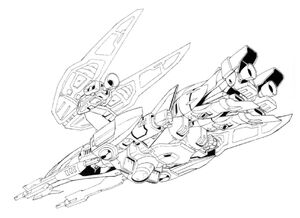 XXXG-00W0 Wing Gundam Zero Neo-Bird Mode Bottom View Lineart