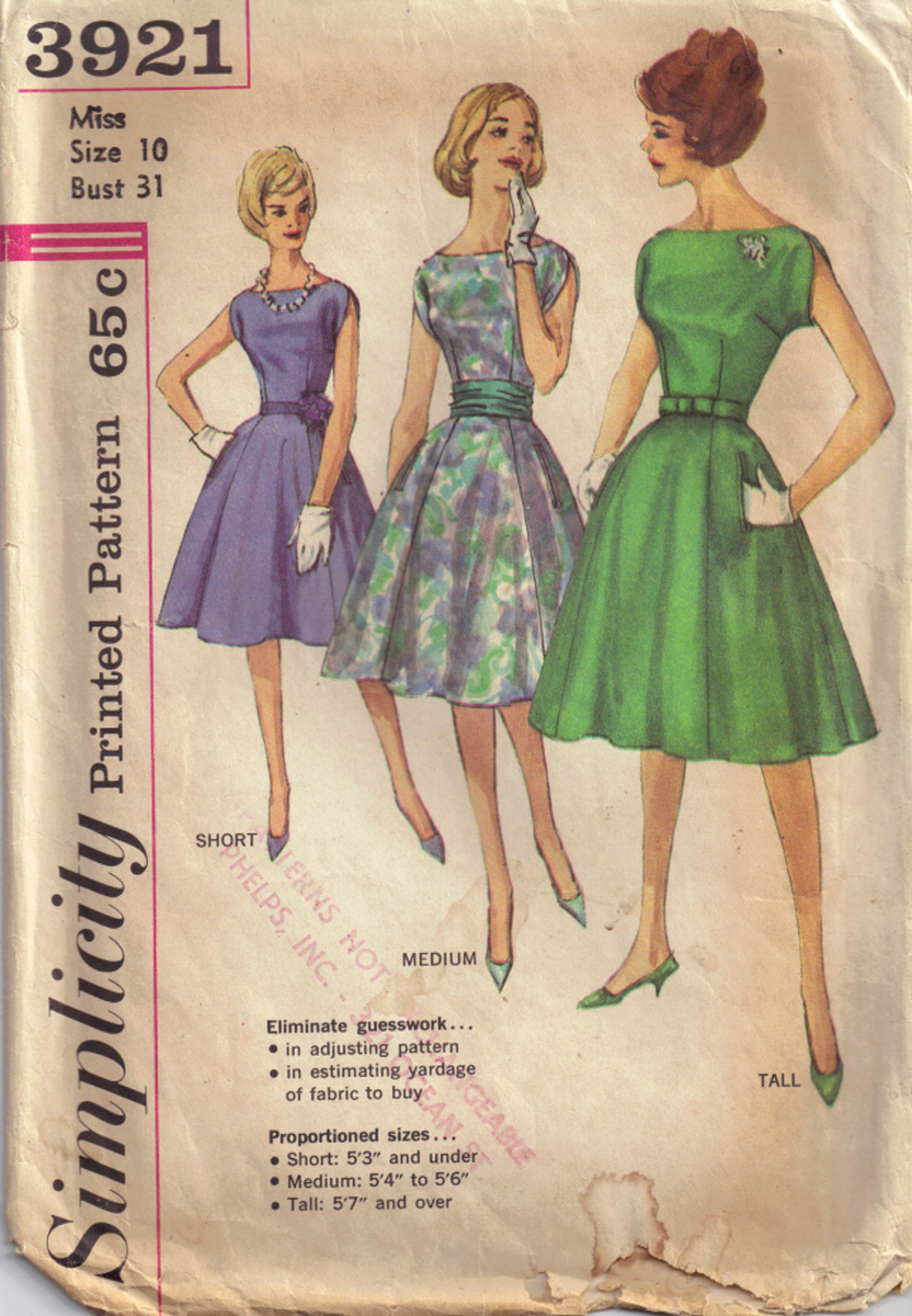 Simplicity 3921 Vintage Sewing Patterns