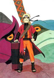 Naruto z szatą i zwojem
