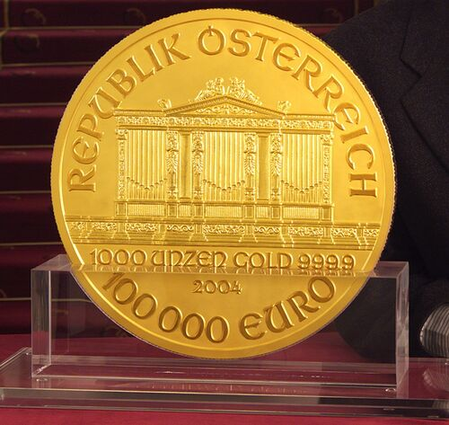 austrian 100 000 euro coin currency wiki the online numismatic encyclopedia. Black Bedroom Furniture Sets. Home Design Ideas