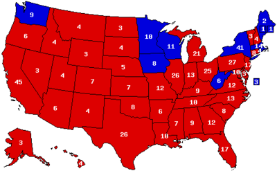 1972+Electoral+Map Presidential election results map. Red denotes ...