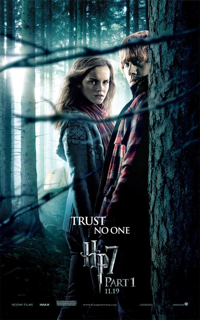 Image posterhp7 1 ron weasley hermione - Harry potter hermione granger ron weasley ...