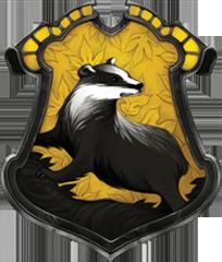 As escolas e suas casas: Hogwarts, Durmstrang, Beauxbatons, Ilvermorny, CasteloBruxo e Mahoutokoro Hufflepuff_crest