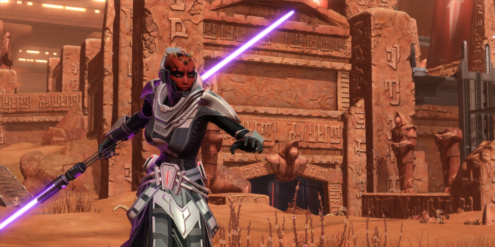 Sith Inquisitor wielding a double-bladed lightsaber  Female Sith Zabrak