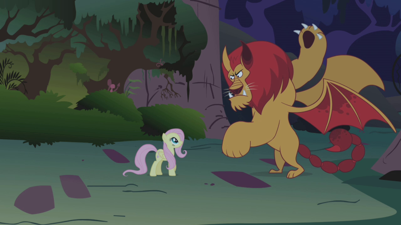 Image - Fluttershy faces the manticore S1E02.png - My ...