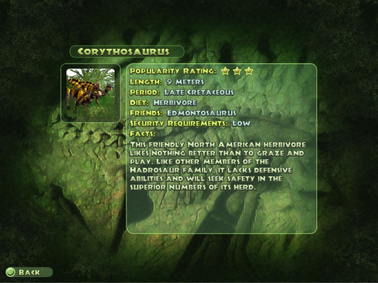 Corythosaurus is a three star large herbivore that lived in North    Jurassic Park Corythosaurus