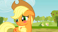 Applejack blushing S2E14