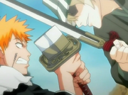 Ichigo and Urahara clash swords