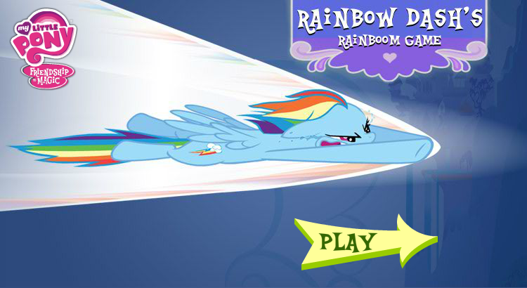 The title screen of rainbow dash s rainboom game