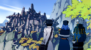 Gray, Lyon and Juvia reached the ruins.png
