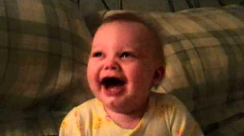Baby laughs so hard he cries!