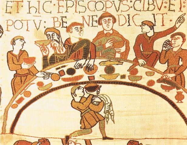 Festmahl Wilhelms des Eroberers auf dem Teppich von Bayeux (um 1070).