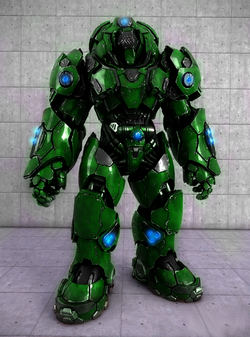 The Terra Firma Protectorate Powered Heavy Combat Armor is a Terran