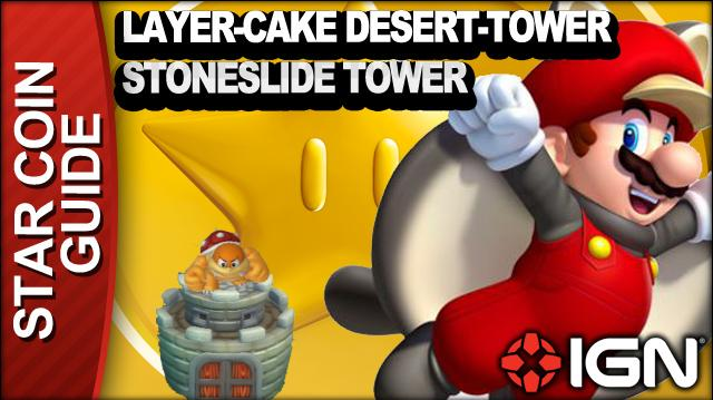 New Super Mario Bros. U 3 Star Coin Walkthrough - Layer-Cake Desert-Tower Stoneslide Tower