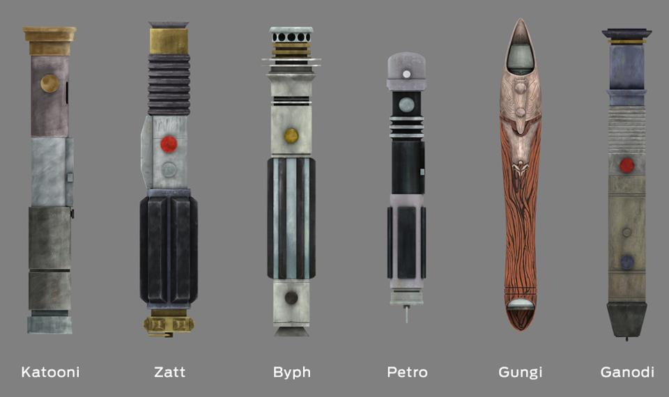 The various lightsabers possessed by the Young Jedi. Byph's lightsaber ...