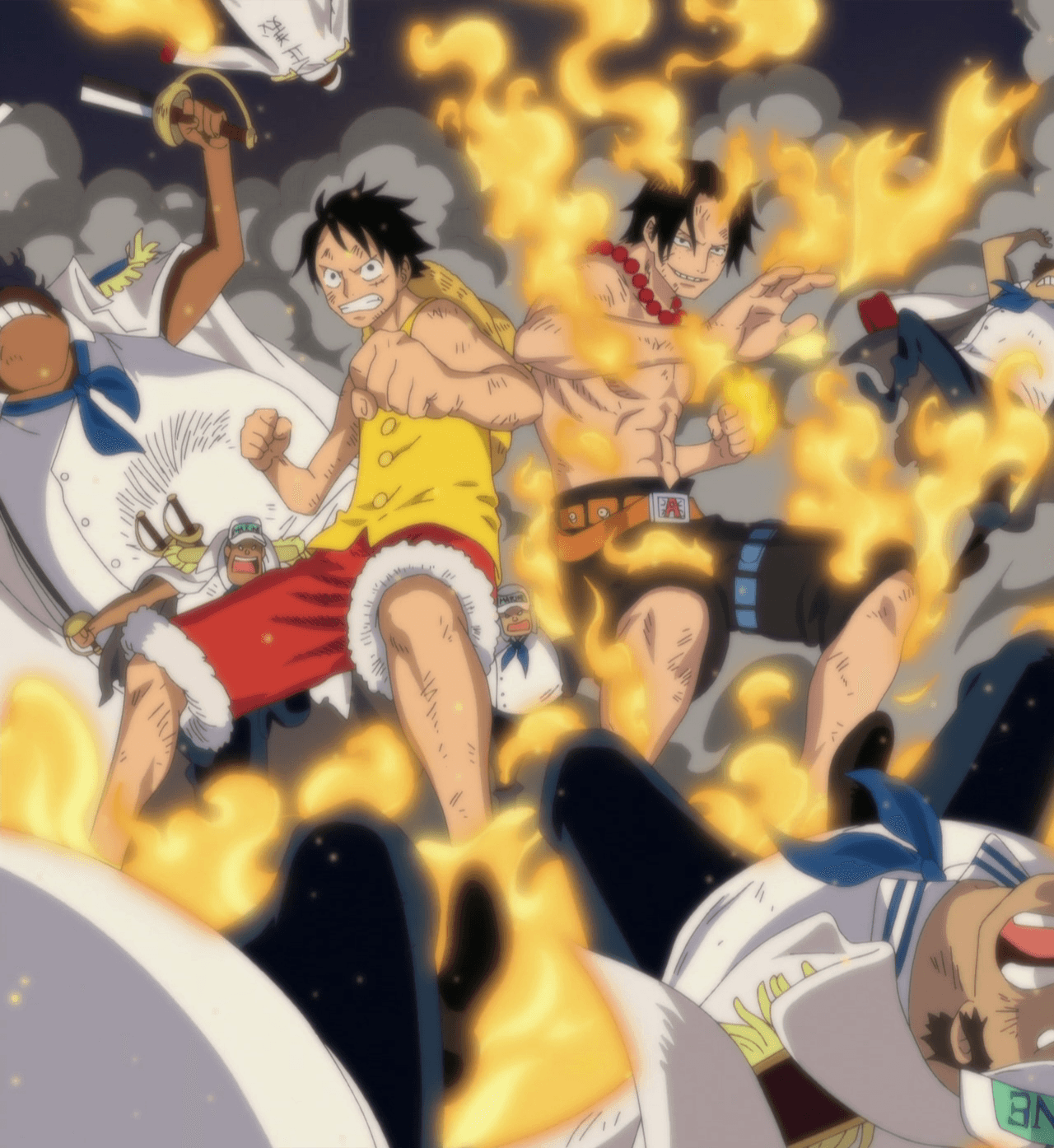 Ace And Luffy Fighting Against Marine Officers