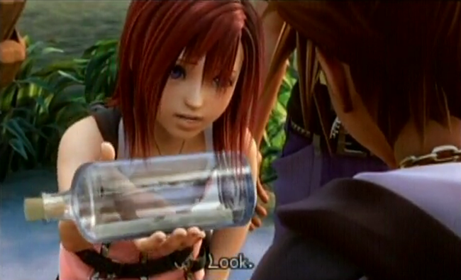 Kairi rushes to sora with the king s letter in hand