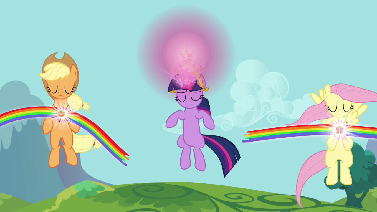 Applejack, Fluttershy, and Twilight using Elements S03E10
