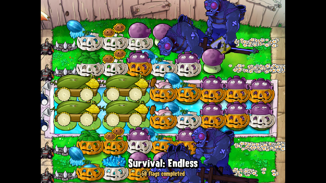 Plants vs zombies survival endless 9 slots