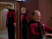 J.P. Hanson is invited by William T. Riker while Shelby watches