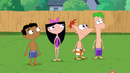 Phineas, Ferb, Isabella and Baljeet look at the Giant ball of water.png