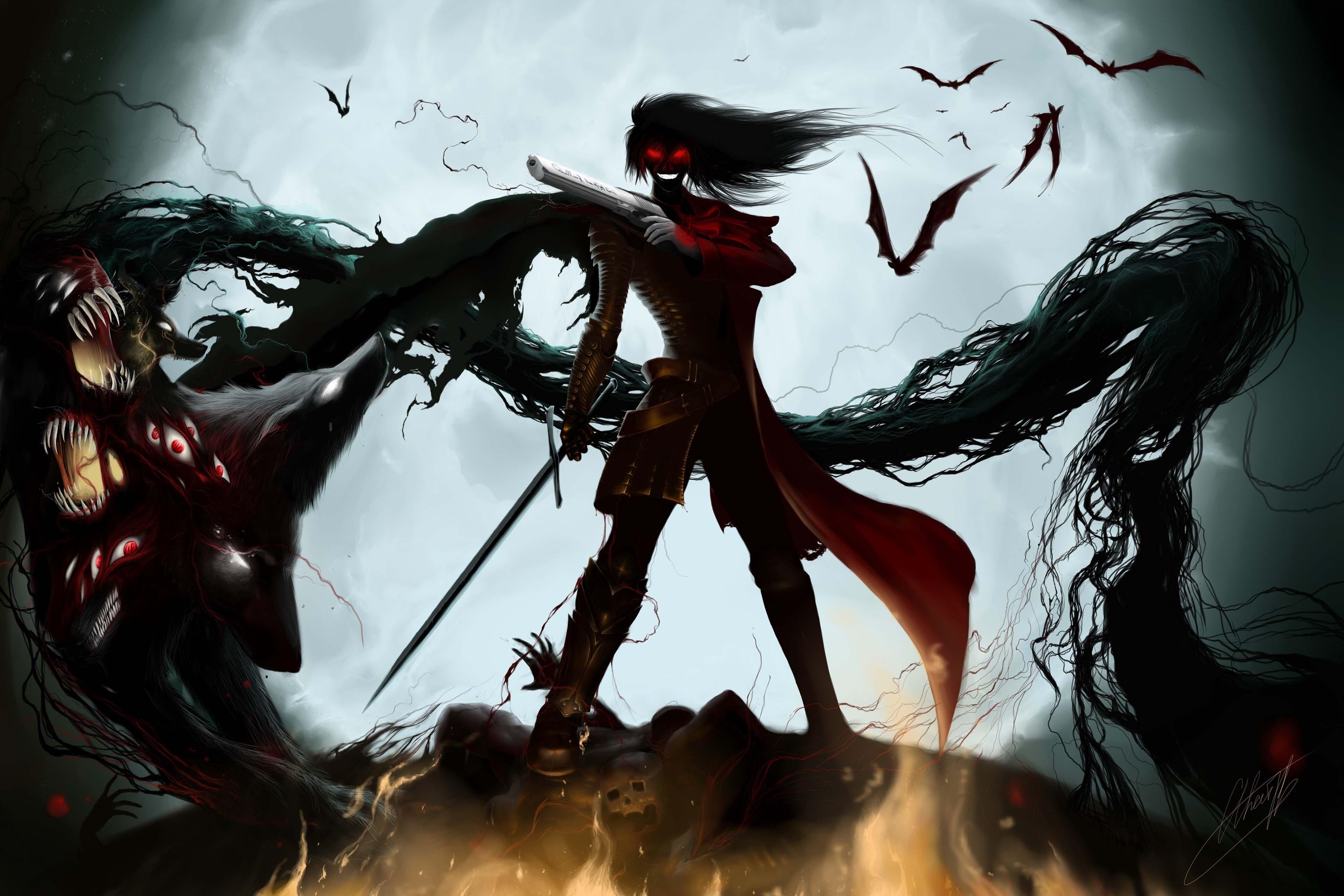 File Hellsing-Alucard-Demon-Vampire-bats-Guns-Burning-eyes jpgVampire Alucard