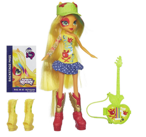 File:Applejack Equestria Girls Rainbow Rocks doll with accessories.png