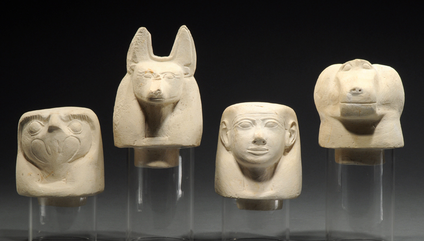 Canopic jar lids depicting the Four Sons of HorusInside Canopic Jars