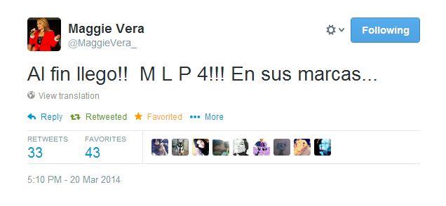 Captura de la cuenta de Twitter de Maggie Vera (directora del doblaje