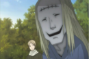 Natsume aware the stitch mark youkai behind him.png