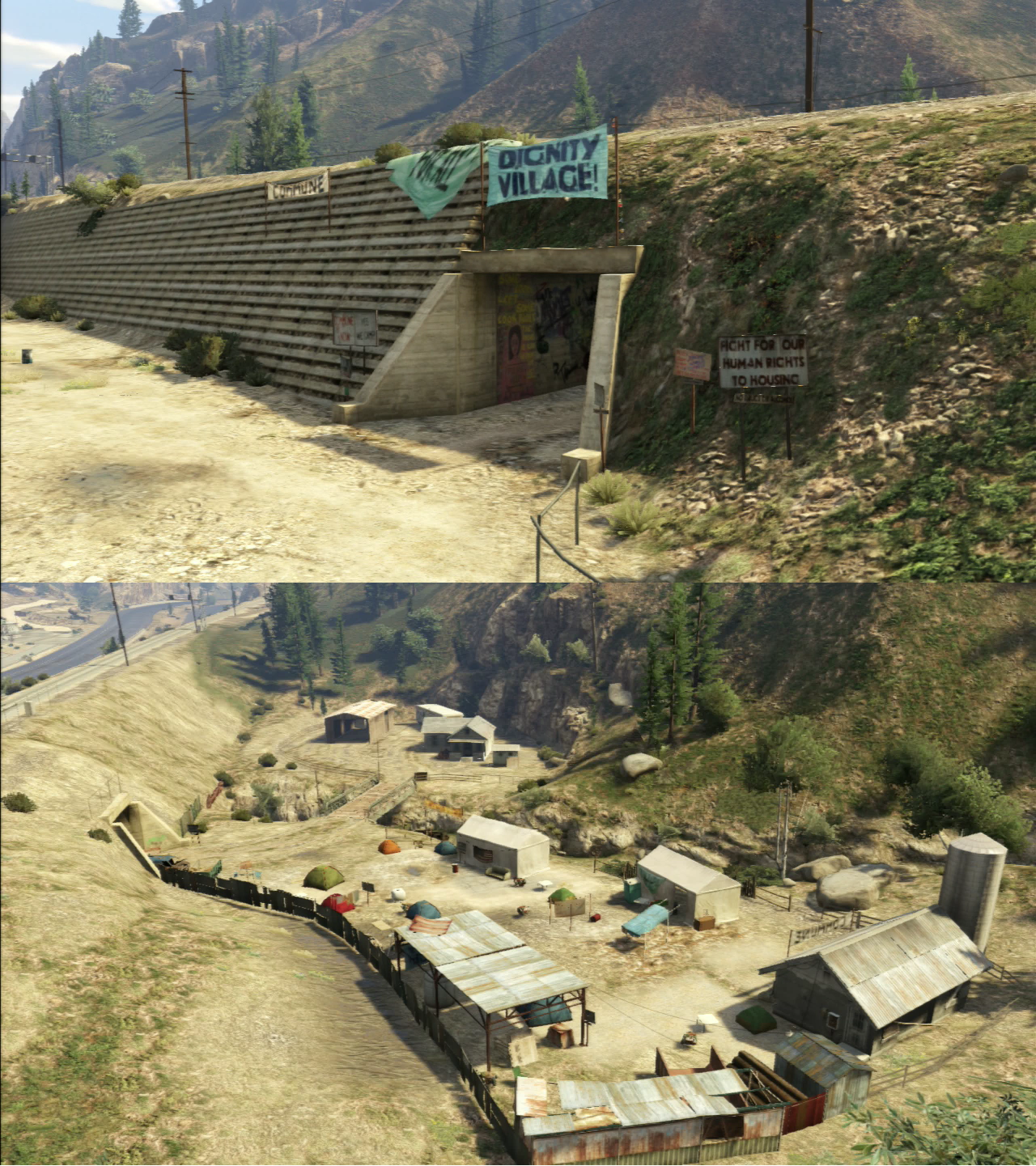 gtav map with Dignity Village on Gta San Andreas Map Los Santos furthermore GTA V  Spaceship Part  Paleto Forest Highway 1 together with Dignity Village furthermore 457214079015604224 likewise Los Santos Freeway  HD Universe.