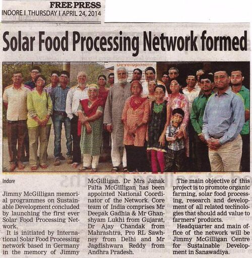 Indore Solar Food Processing Network article April 2014