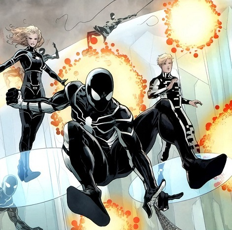 "Any Future Foundation suit can also go into a black ""Stealth Mode"" if ... Ultimate Spider Man Peter Parker Costume"