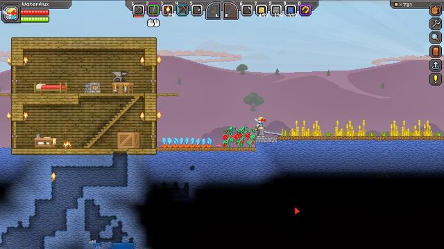 дом в Starbound и растения