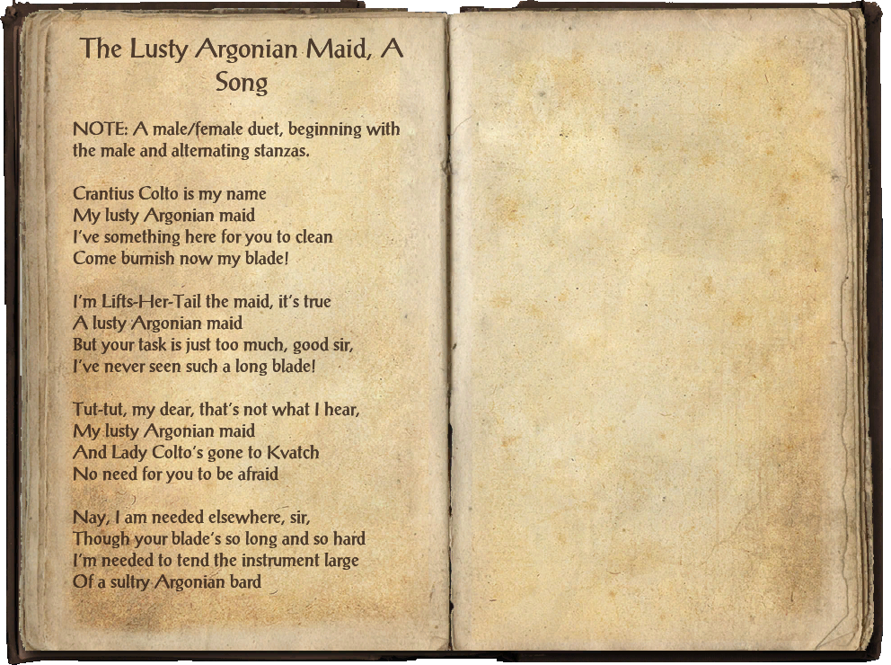 The Lusty Argonian Maid, A Song - The Elder Scrolls Wiki