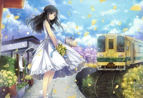Image - Dress flowers trains long hair outdoors black eyes open ...
