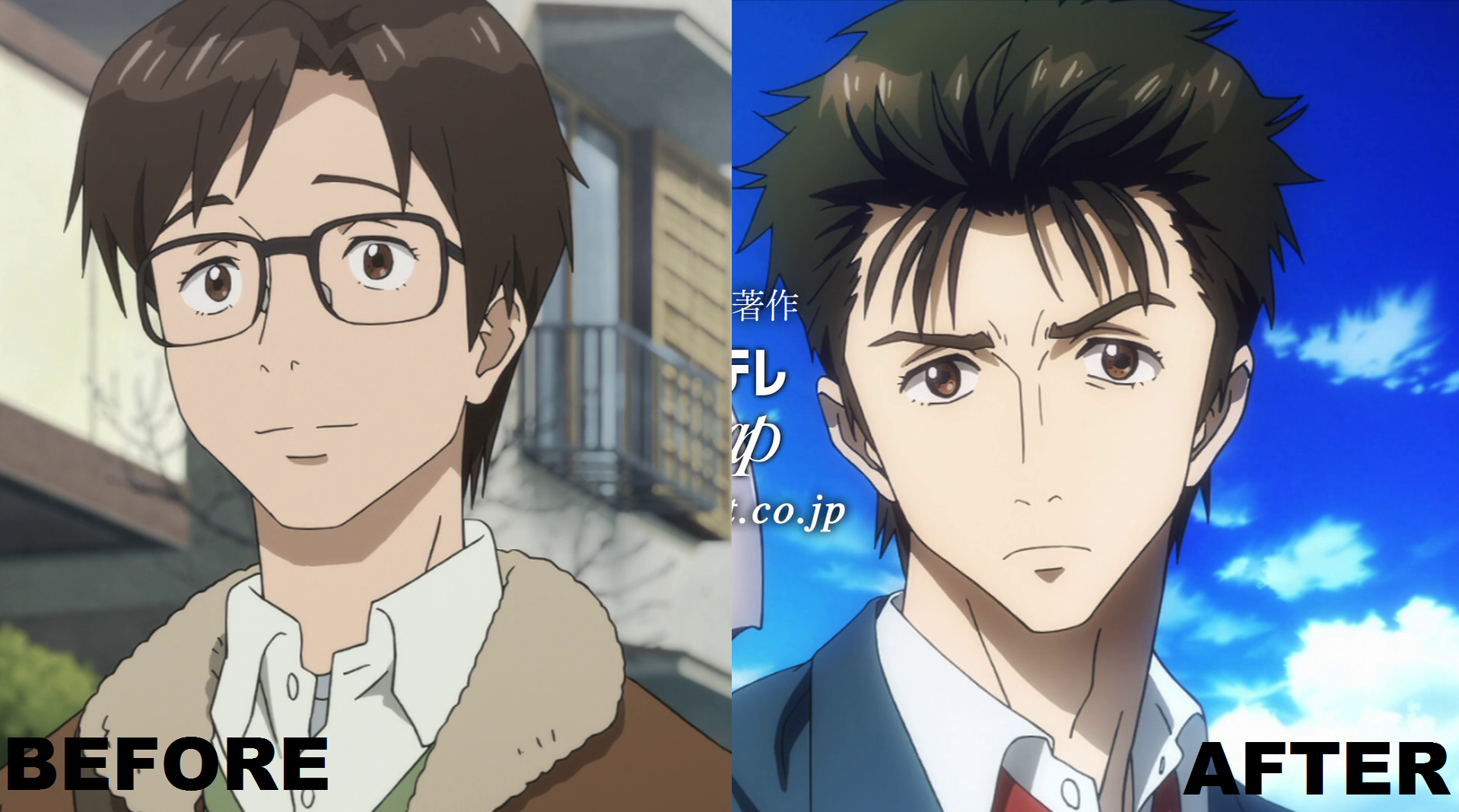 Kiseijuu: Sei no Kakuritsu (Parasite) Shinichi_Izumi_Anime_Before_After