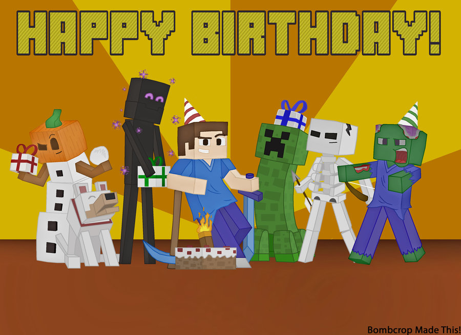 Bright image with regard to minecraft printable birthday card