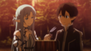 Asuna and Kirito purchasing Forest House in ALO.png