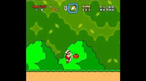 Animación trabada de Mario al comer una flor SMW