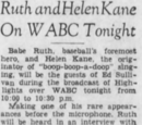 Babe Ruth and Helen Kane On WABC Tonight