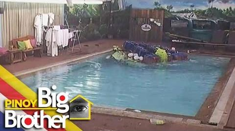 PBB 7 Day 111 Housemates' floating sled capsized.